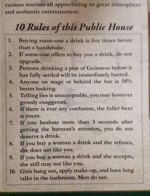 Irish Pub S List Of Drinking Rules Goes Viral